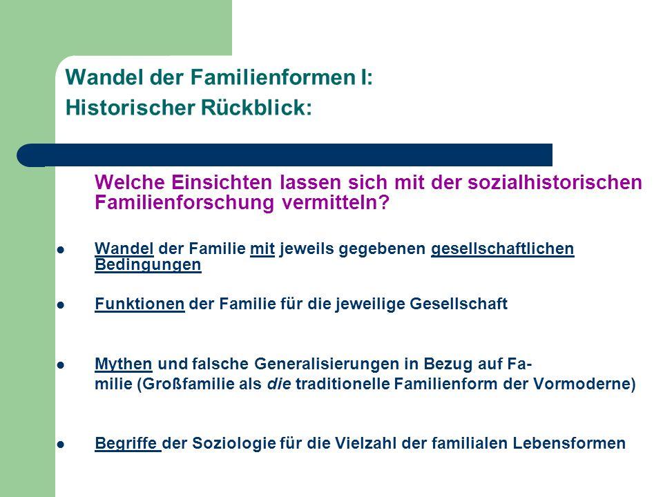 Wandel der Familienformen I: Historischer Rückblick: