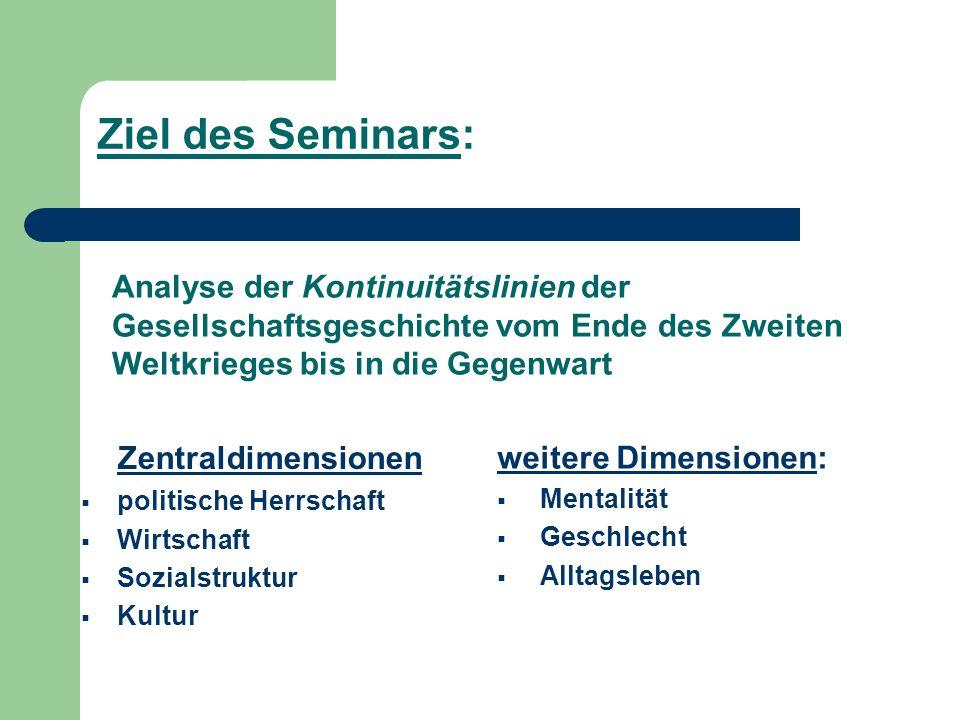 Ziel des Seminars: Zentraldimensionen