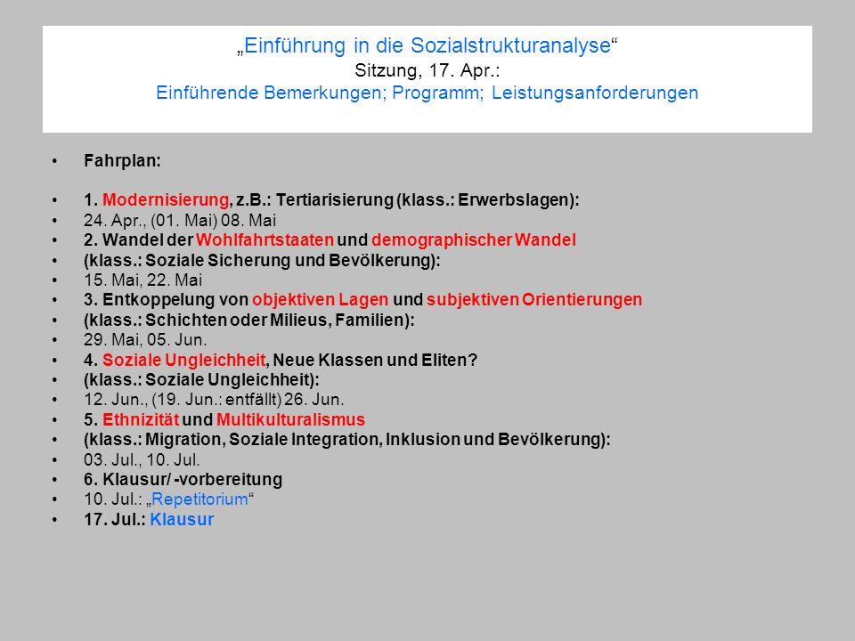 """""""Einführung in die Sozialstrukturanalyse Sitzung, 17. Apr"""