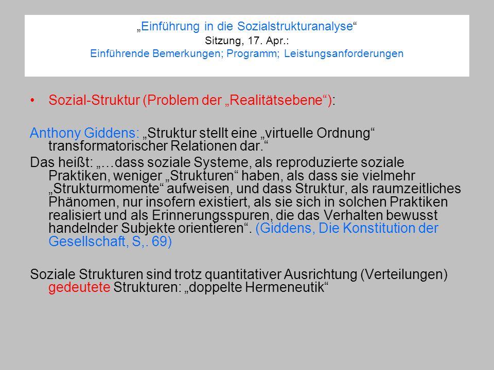 "Sozial-Struktur (Problem der ""Realitätsebene ):"