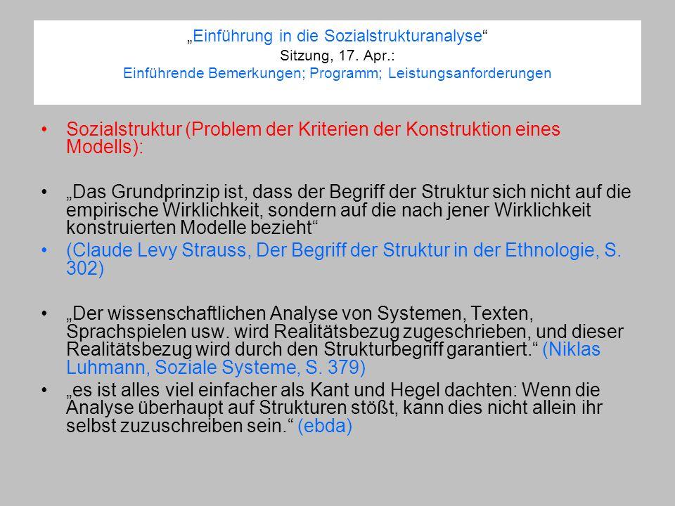 Sozialstruktur (Problem der Kriterien der Konstruktion eines Modells):