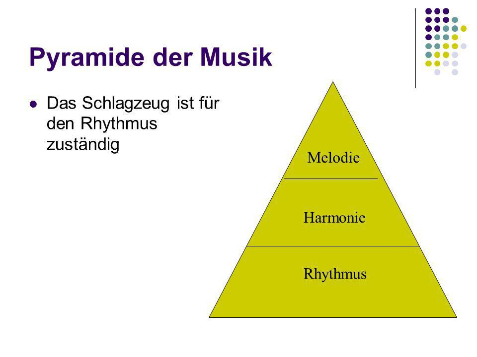 Pyramide der Musik Das Schlagzeug ist für den Rhythmus zuständig