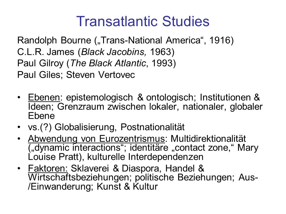 Transatlantic Studies