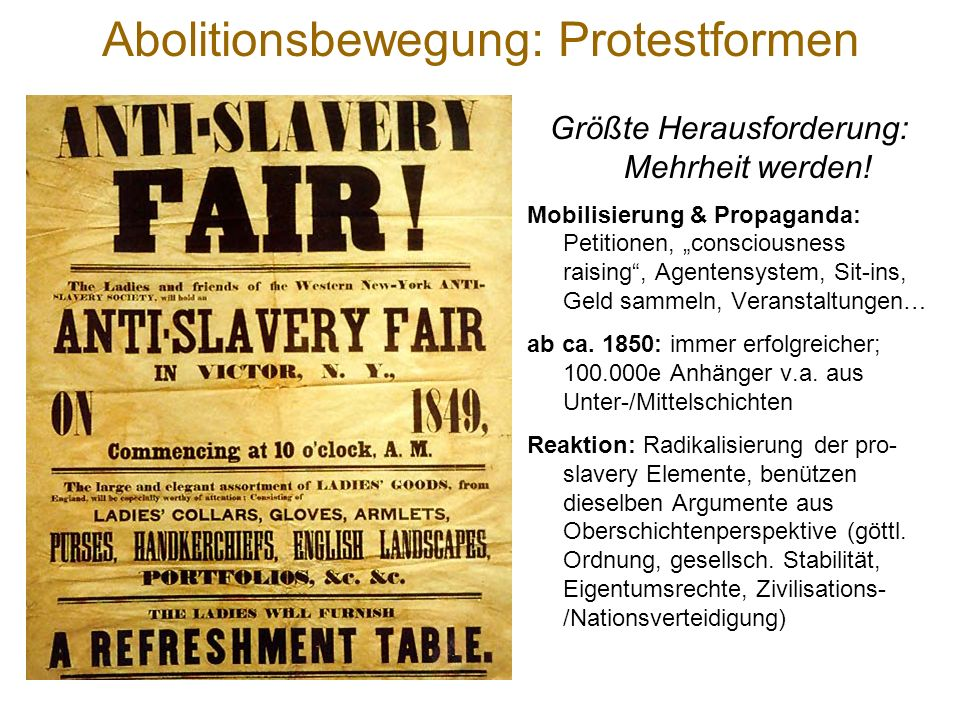 Abolitionsbewegung: Protestformen