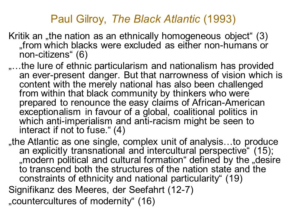 Paul Gilroy, The Black Atlantic (1993)