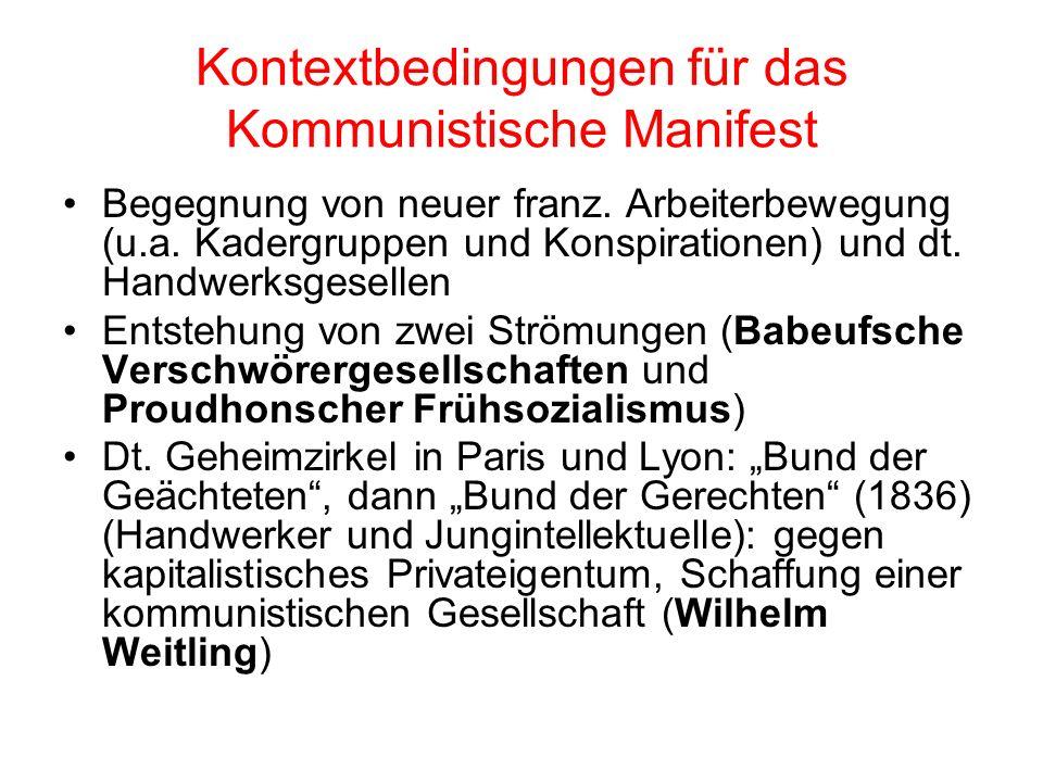 Kontextbedingungen für das Kommunistische Manifest