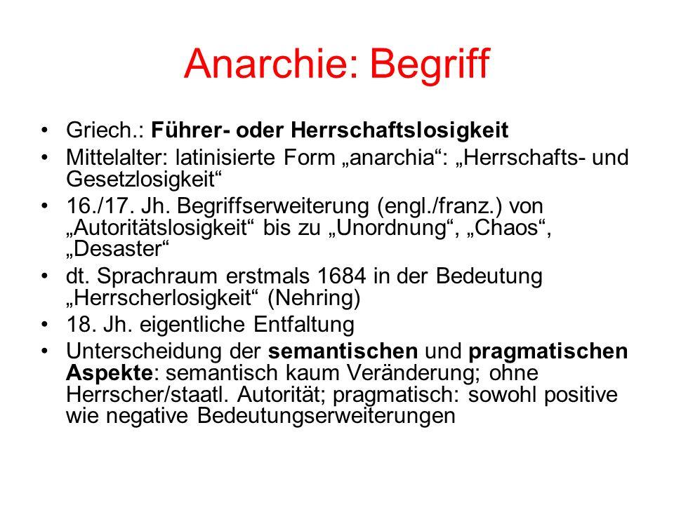 Anarchie: Begriff Griech.: Führer- oder Herrschaftslosigkeit