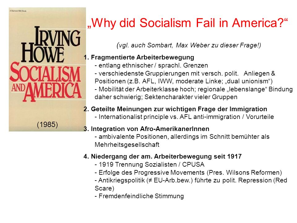 """Why did Socialism Fail in America"
