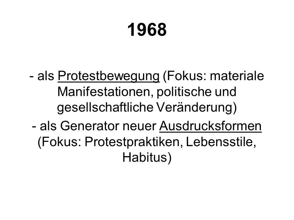 1968 als Protestbewegung (Fokus: materiale Manifestationen, politische und gesellschaftliche Veränderung)