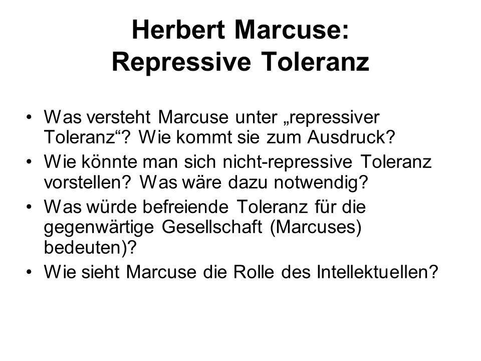 Herbert Marcuse: Repressive Toleranz