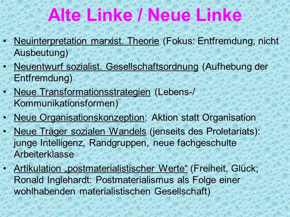 Alte Linke / Neue Linke Neuinterpretation marxist. Theorie (Fokus: Entfremdung, nicht Ausbeutung)