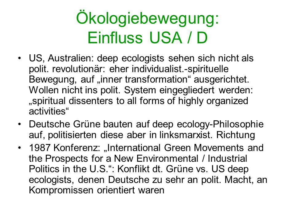 Ökologiebewegung: Einfluss USA / D