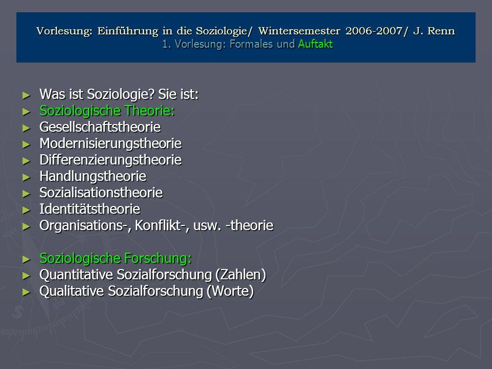 Was ist Soziologie Sie ist: Soziologische Theorie: