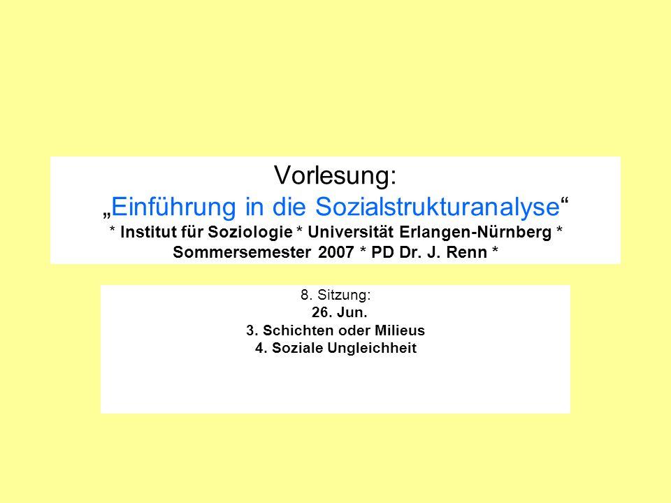 8. Sitzung: 26. Jun. 3. Schichten oder Milieus 4. Soziale Ungleichheit