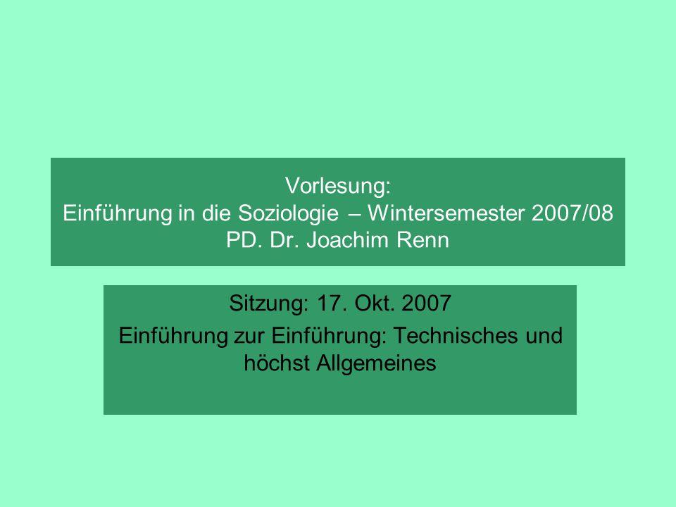 Einführung zur Einführung: Technisches und höchst Allgemeines