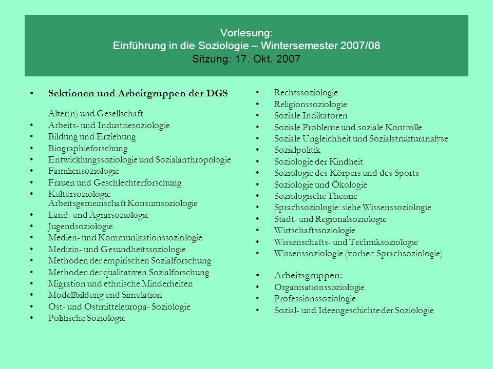 Sektionen und Arbeitgruppen der DGS Alter(n) und Gesellschaft