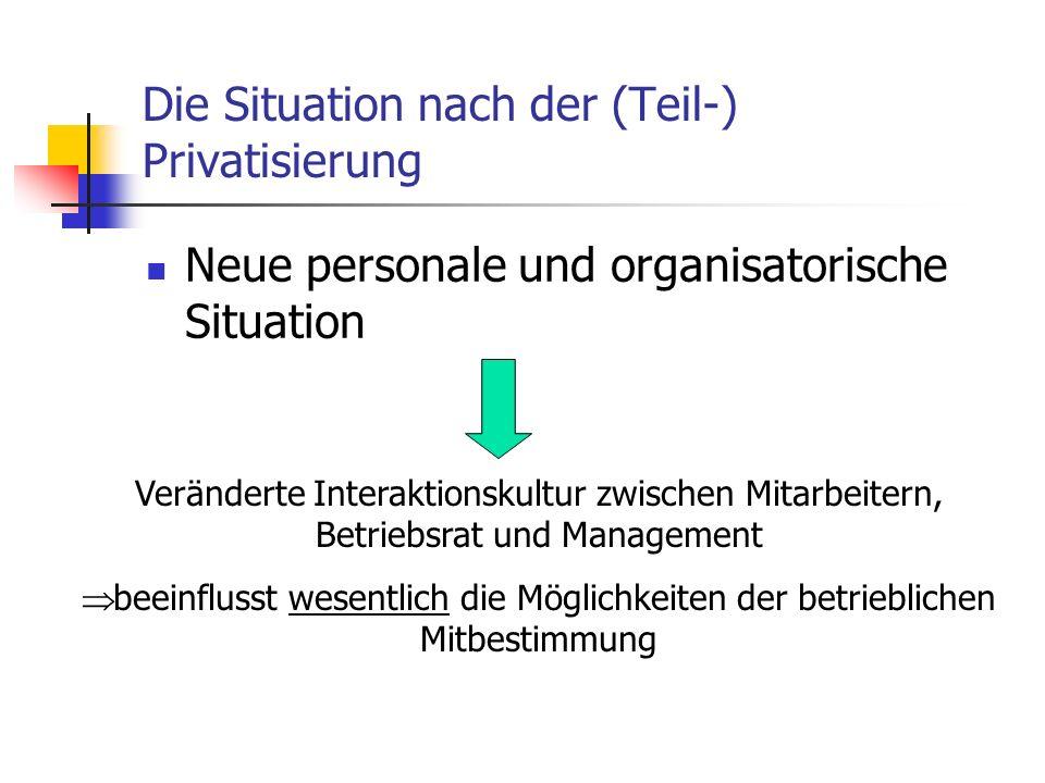 Die Situation nach der (Teil-) Privatisierung