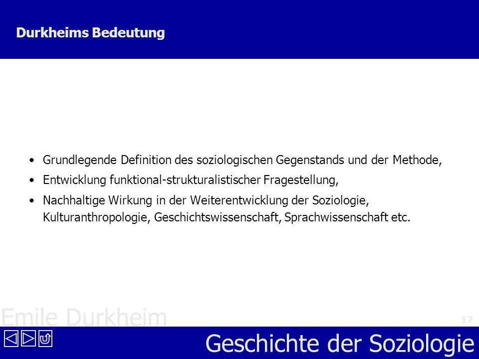 Durkheims Bedeutung Grundlegende Definition des soziologischen Gegenstands und der Methode,