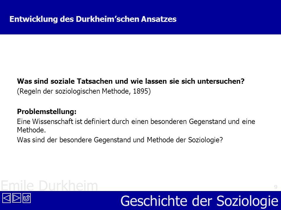 Entwicklung des Durkheim'schen Ansatzes