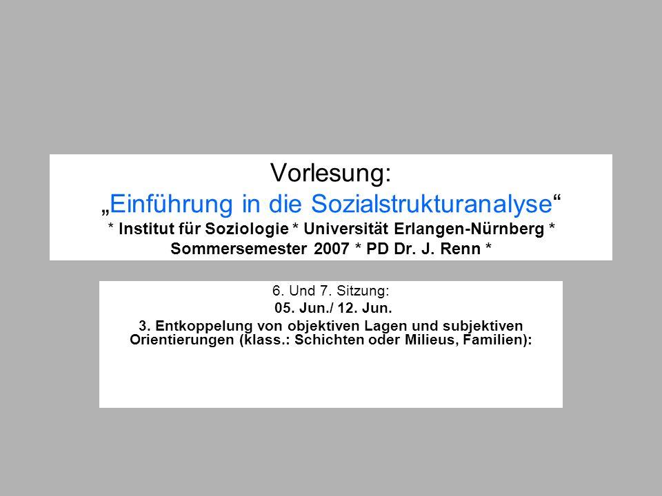"""Vorlesung: """"Einführung in die Sozialstrukturanalyse"""