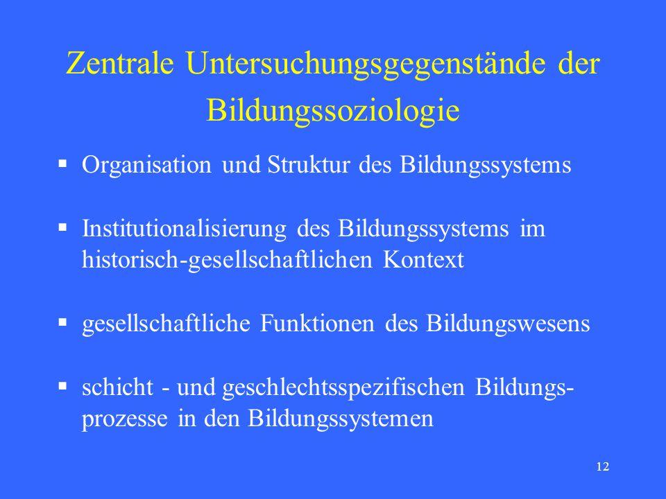 Zentrale Untersuchungsgegenstände der Bildungssoziologie