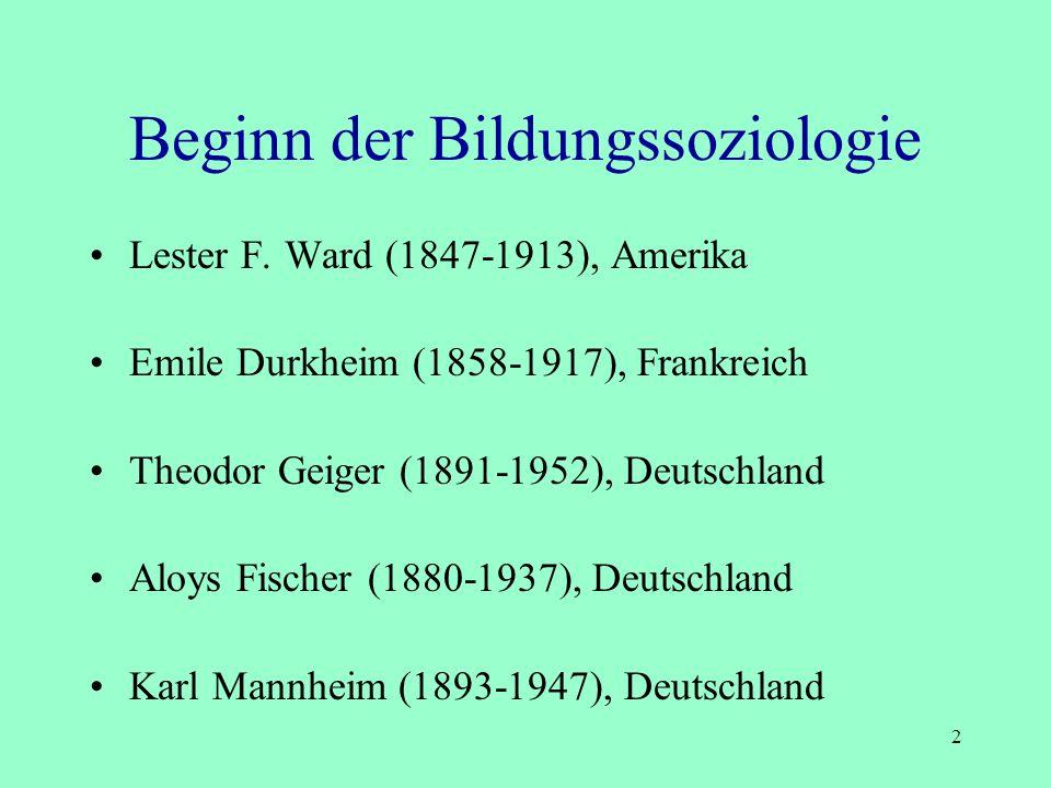 Beginn der Bildungssoziologie