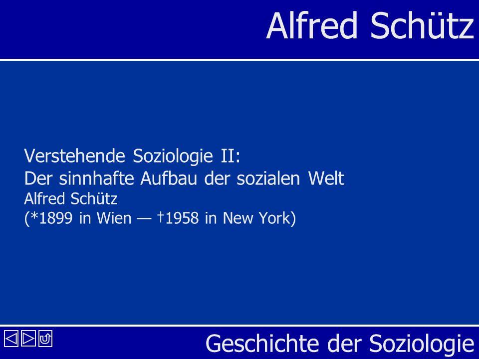 Verstehende Soziologie II: Der sinnhafte Aufbau der sozialen Welt Alfred Schütz (*1899 in Wien — †1958 in New York)