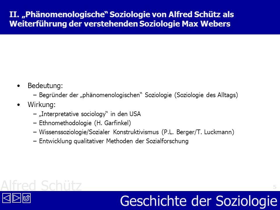 """II. """"Phänomenologische Soziologie von Alfred Schütz als Weiterführung der verstehenden Soziologie Max Webers"""