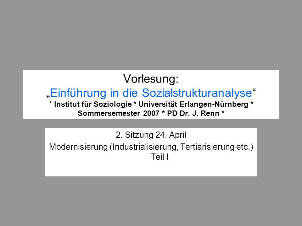 Modernisierung (Industrialisierung, Tertiarisierung etc.) Teil I
