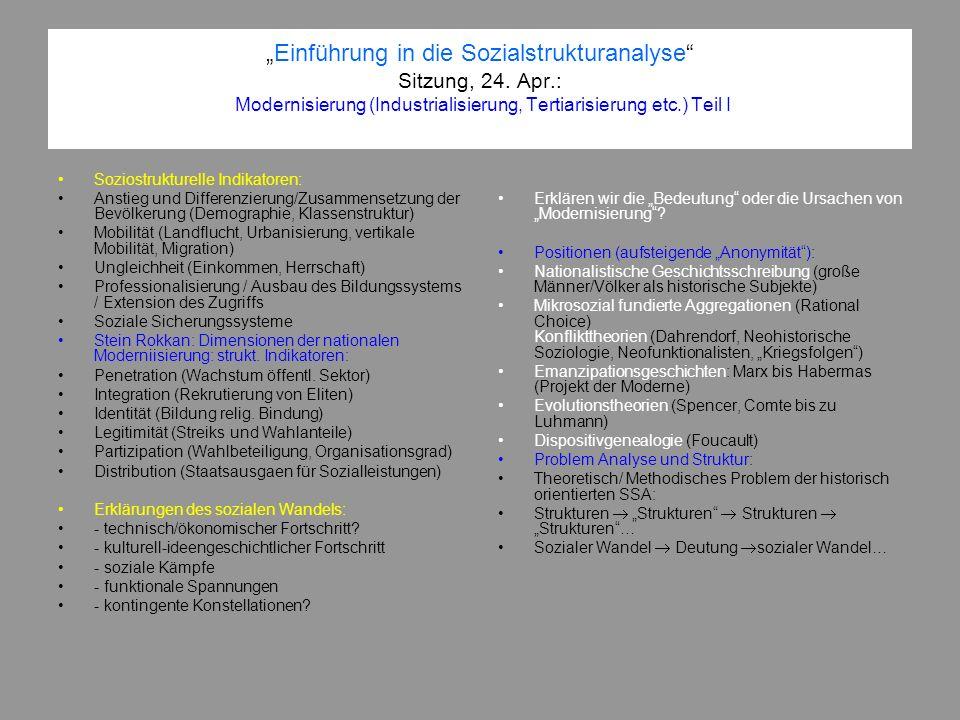 """""""Einführung in die Sozialstrukturanalyse Sitzung, 24. Apr"""