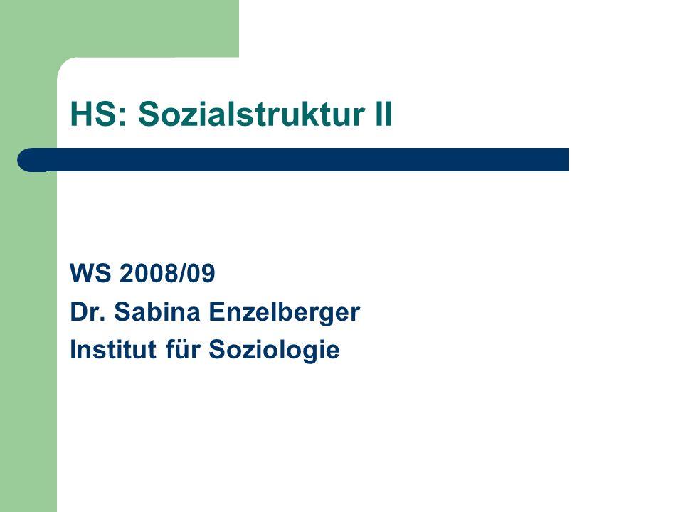 HS: Sozialstruktur II WS 2008/09 Dr. Sabina Enzelberger
