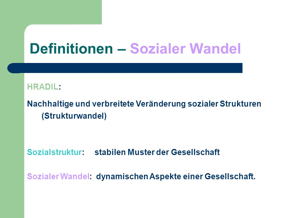 Definitionen – Sozialer Wandel
