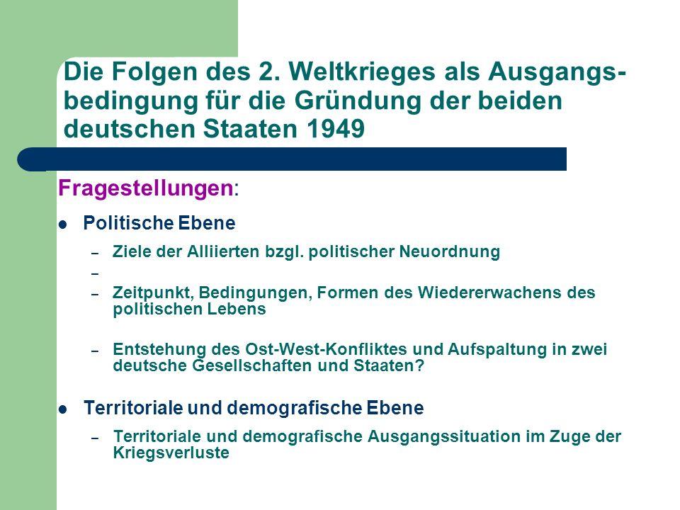 Die Folgen des 2. Weltkrieges als Ausgangs-bedingung für die Gründung der beiden deutschen Staaten 1949