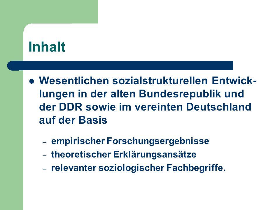 Inhalt Wesentlichen sozialstrukturellen Entwick-lungen in der alten Bundesrepublik und der DDR sowie im vereinten Deutschland auf der Basis.