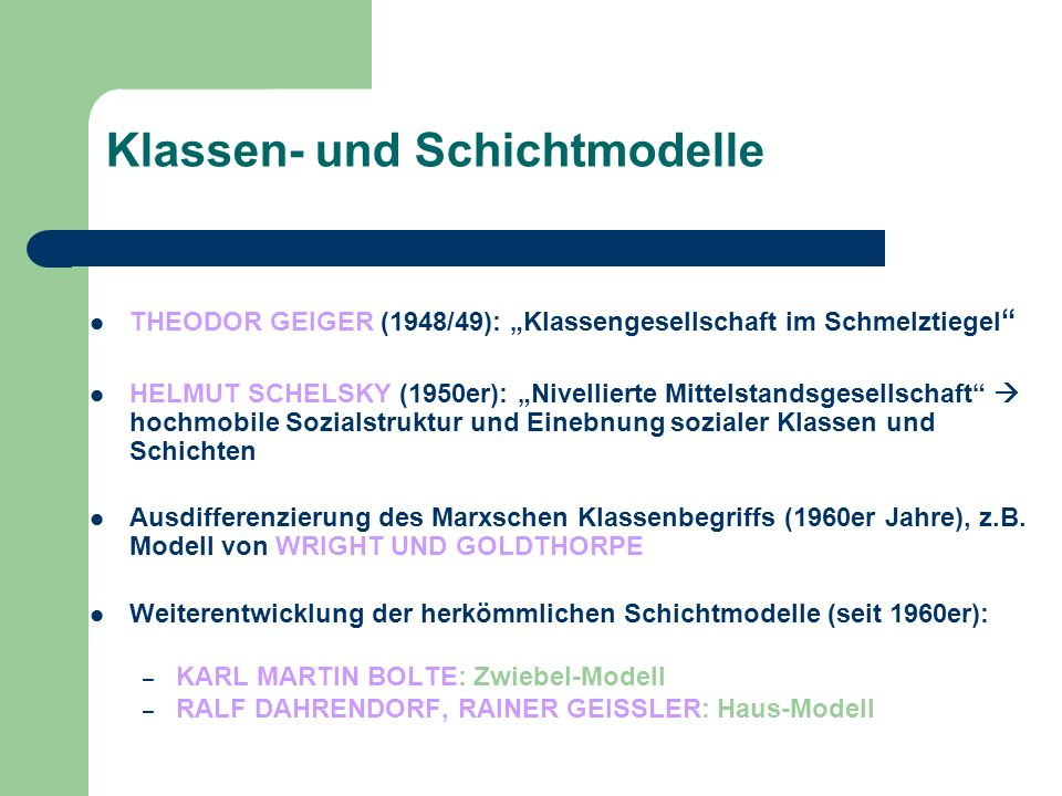 Klassen- und Schichtmodelle