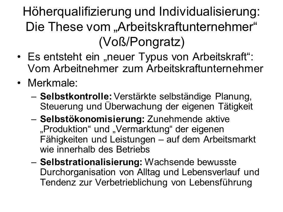 """Höherqualifizierung und Individualisierung: Die These vom """"Arbeitskraftunternehmer (Voß/Pongratz)"""