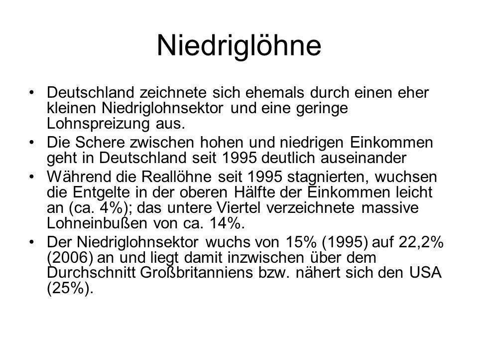 NiedriglöhneDeutschland zeichnete sich ehemals durch einen eher kleinen Niedriglohnsektor und eine geringe Lohnspreizung aus.