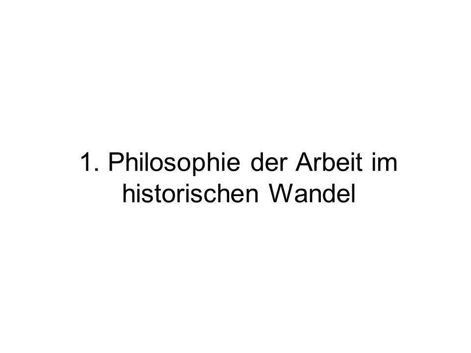 1. Philosophie der Arbeit im historischen Wandel