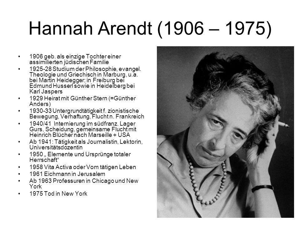 Hannah Arendt (1906 – 1975)1906 geb. als einzige Tochter einer assimilierten jüdischen Familie.