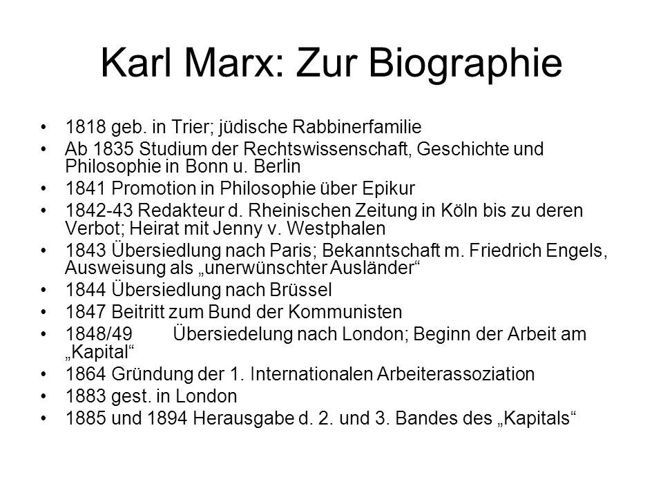 Karl Marx: Zur Biographie