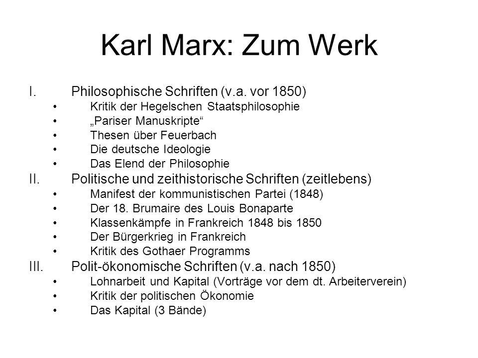Karl Marx: Zum Werk Philosophische Schriften (v.a. vor 1850)