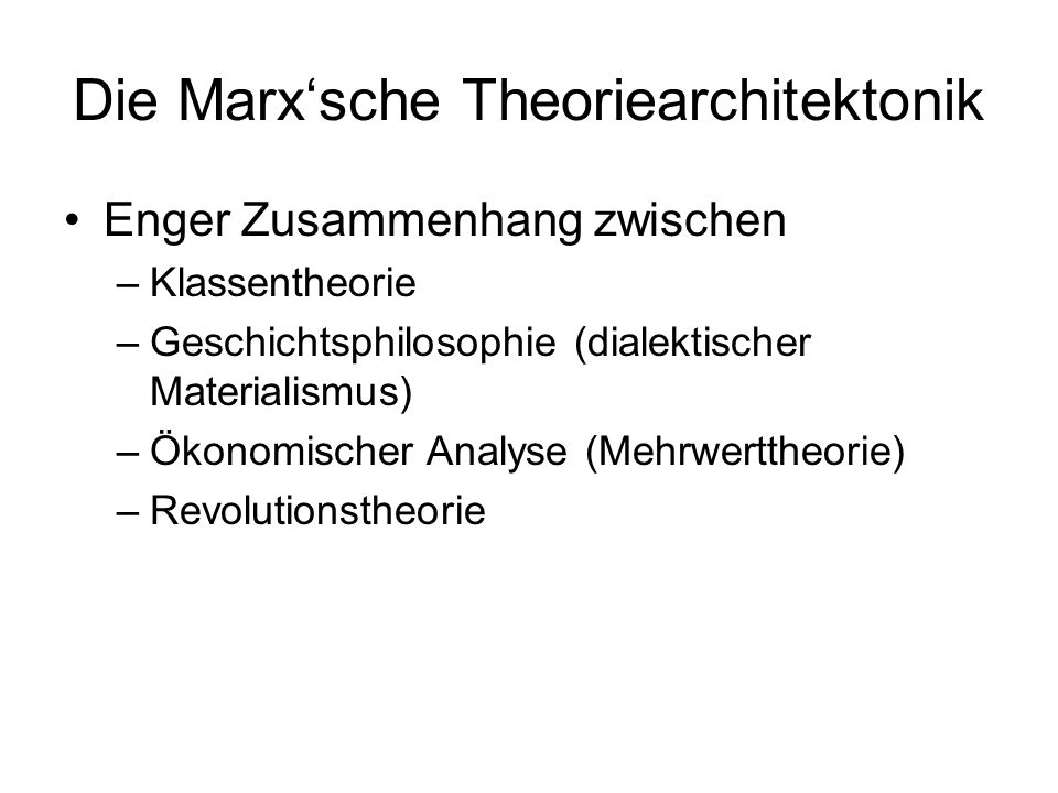 Die Marx'sche Theoriearchitektonik