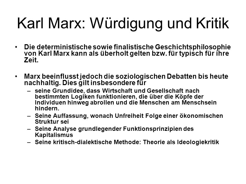Karl Marx: Würdigung und Kritik