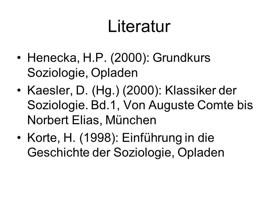 Literatur Henecka, H.P. (2000): Grundkurs Soziologie, Opladen