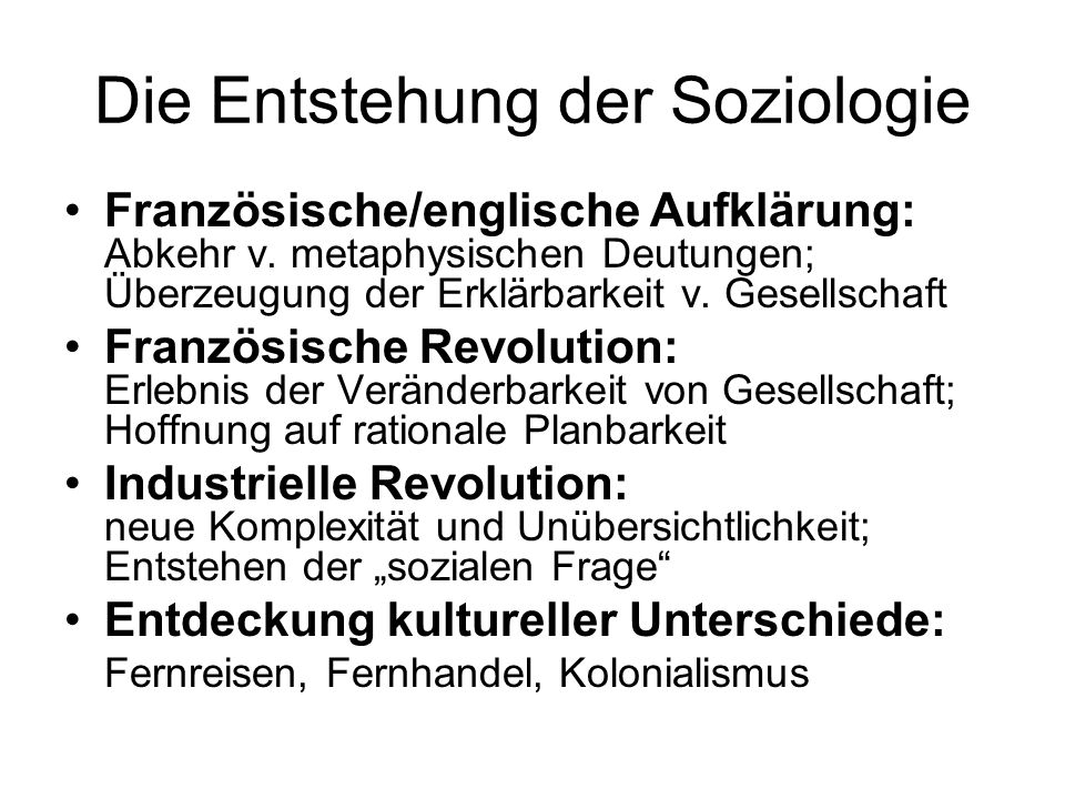 Die Entstehung der Soziologie