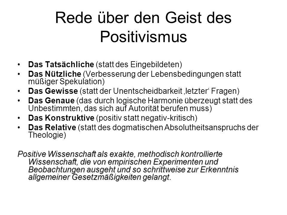 Rede über den Geist des Positivismus
