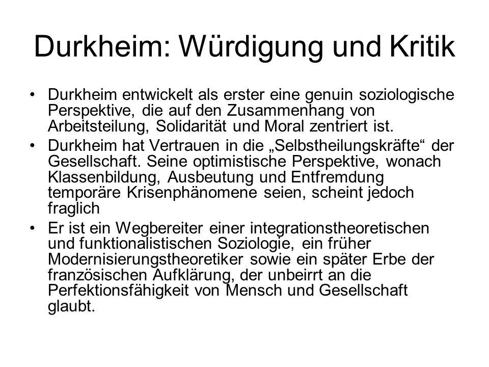 Durkheim: Würdigung und Kritik