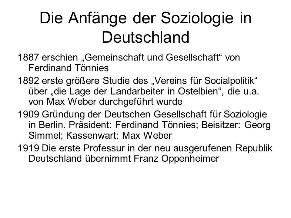 Die Anfänge der Soziologie in Deutschland
