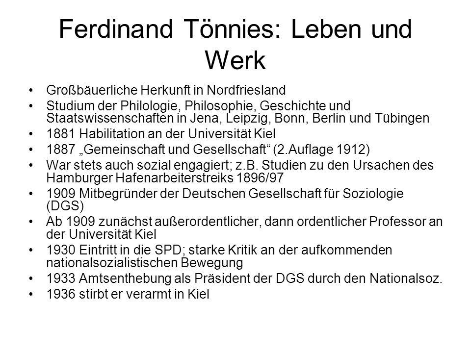 Ferdinand Tönnies: Leben und Werk