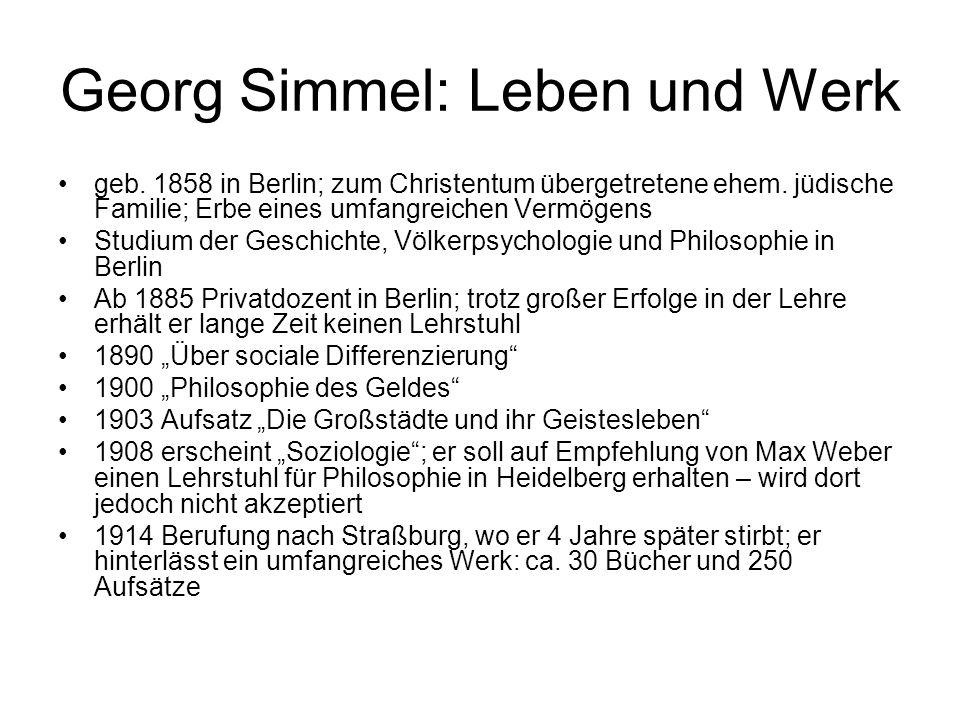 Georg Simmel: Leben und Werk